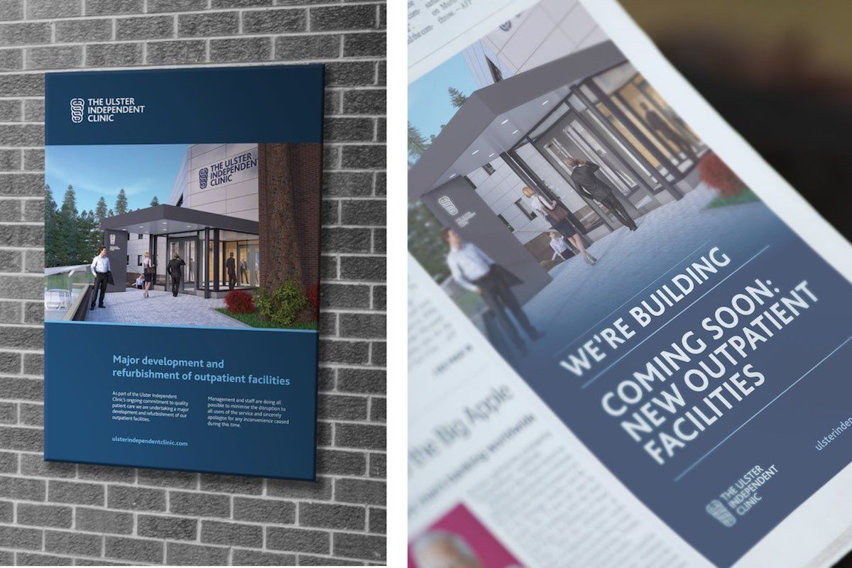 Ulster Independent Clinic Collateral branding and web design
